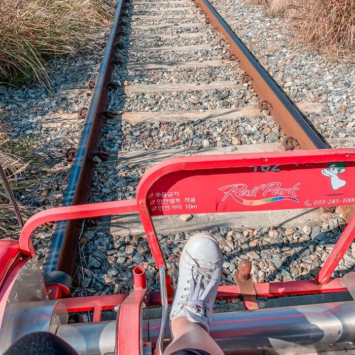 Gangchon Rail Park pedalling