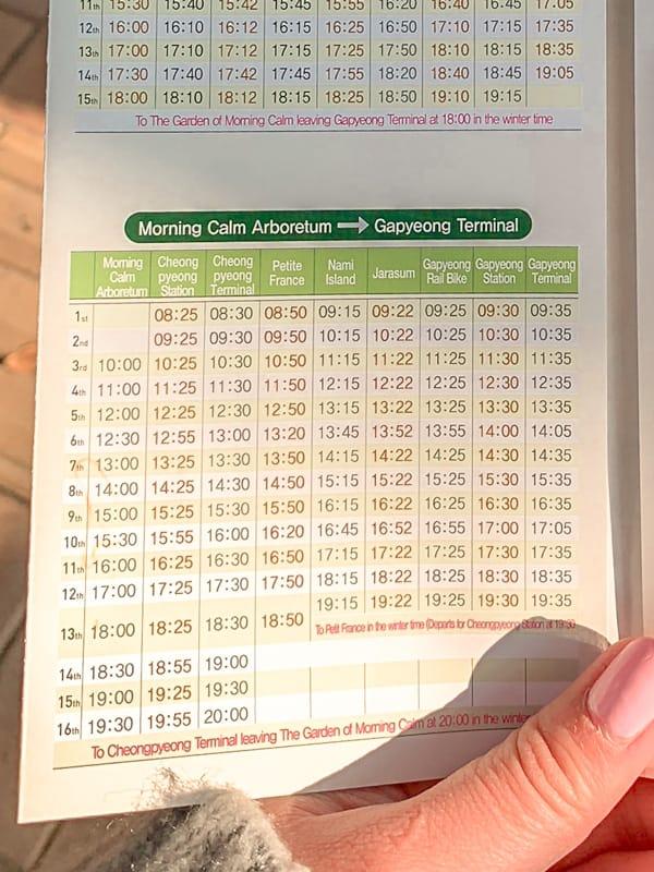 Gapyeong City Tour Bus Timetable
